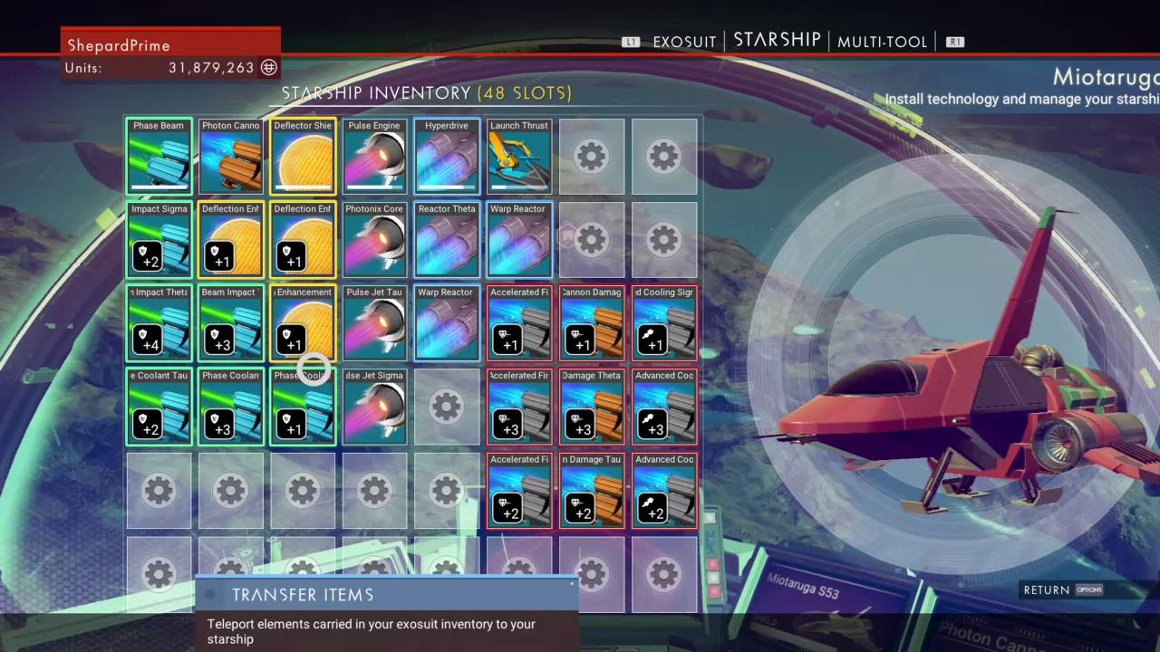 A guide to purchasing spaceships with upgrades and extra inventory space in no man's sky.