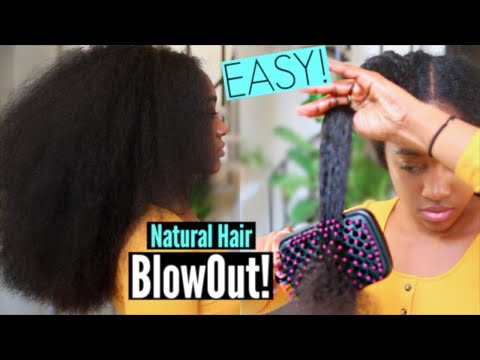 Easy NO Damage Blowout on Natural Hair (Less than 1 Hour)| Stretching Curly Hair