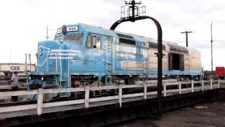 ex-Amtrak SDP40F DYRX 644 Turns On Turntable (HD)