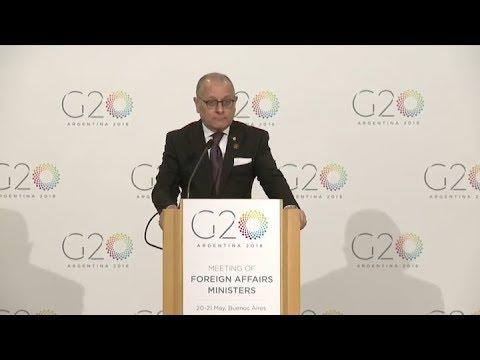 Jorge Faurie brindó los lineamientos de los temas tratados por los cancilleres del G20