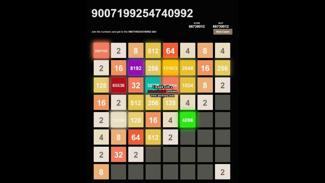 9007199254740992 - 2048 8x8 - Dark mode