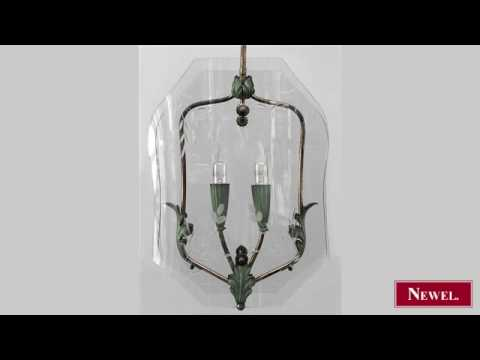Antique Pair of Italian 1940s hanging lanterns with 2 green