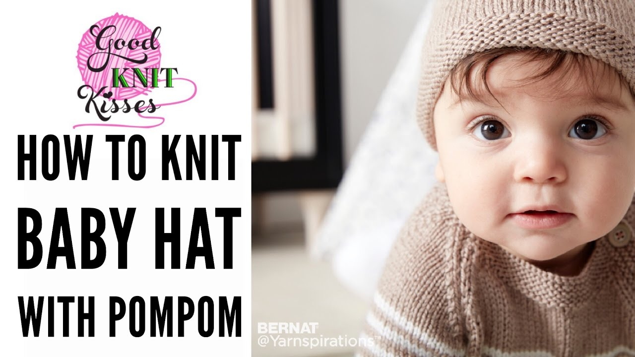 How to Knit a Baby Hat with pompom in Bernat Softee Baby yarn by ...