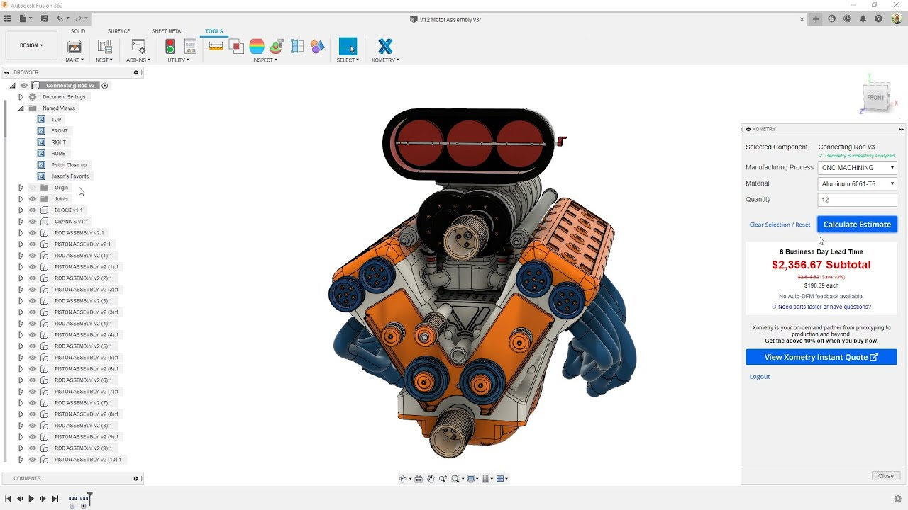 Introducing the Xometry Add-in for Fusion 360: Instant Costing/Pricing at Your Fingertips