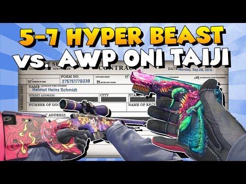 CS:GO - StatTrak Five SeveN Hyper Beast Vs. AWP Oni Taiji Trade Up
