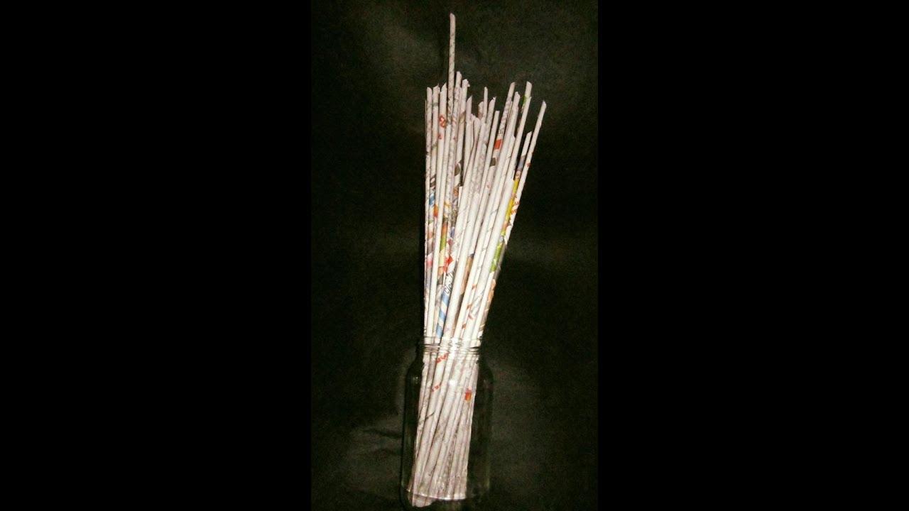 1 como hacer unas varillas tubitos rollitos o palitos de papel peri dico para cestas de - Hacer cestas con papel de periodico ...