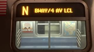 NYC Subway Late Night: R160 (N) Exterior Destination Sign To Coney Island (VIA Whitehall-2017)