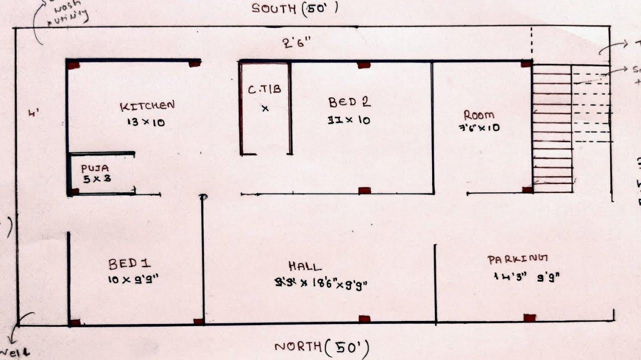 25 × 50 west face 3bhk house plan map naksha