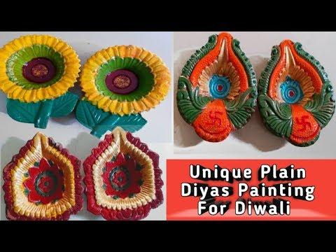 How to decorate plain diya easily at home | Diwali Diya Painting Decoration ideas 2019