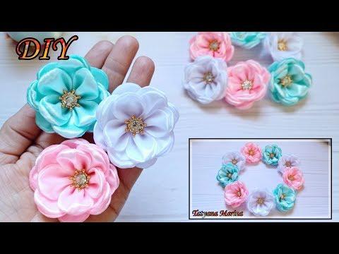 Цветы из 5 см атласных лент своими руками