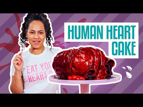 How To Make A HUMAN HEART CAKE! Deep Red Velvet Cake and Chocolate Ganache!