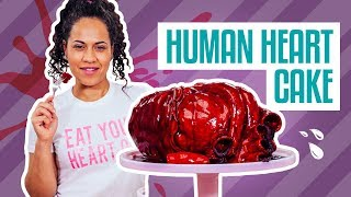 How To Make A HUMAN HEART CAKE for VALENTINE'S DAY! Deep Red Velvet Cake and Chocolate Ganache!