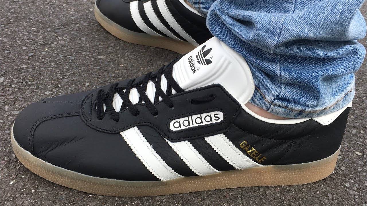adidas gazelle black and white on feet