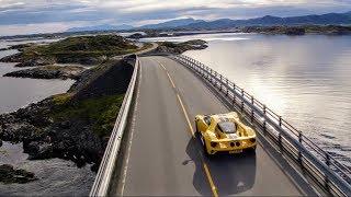 Форд ГТ диски знаменитою Атлантичну дороги в Норвегії (+Полярне коло гоночної траси)