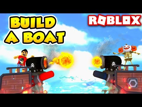YouTuber CANNON BATTLES in Build a Boat for Treasure | Roblox