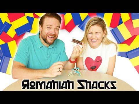 WE TRY ROMANIAN SNACKS + CANDY 🇹🇫  Taste Test