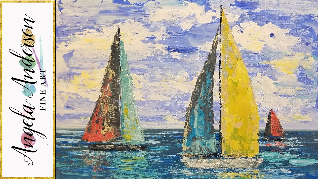 Simple sailboat seascape acrylic painting tutorial using for How to start acrylic painting