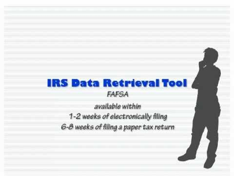 Irs Data Retrieval Tool Fafsa Youtube