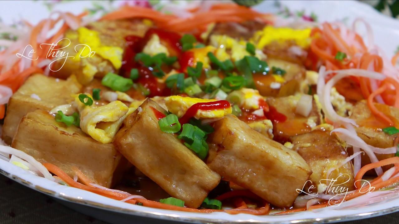 Bánh Bột Chiên Giòn Cách Làm Bột Thơm Ngon – Air Fry and Pan Fried Rice Cubed Cakes with Eggs