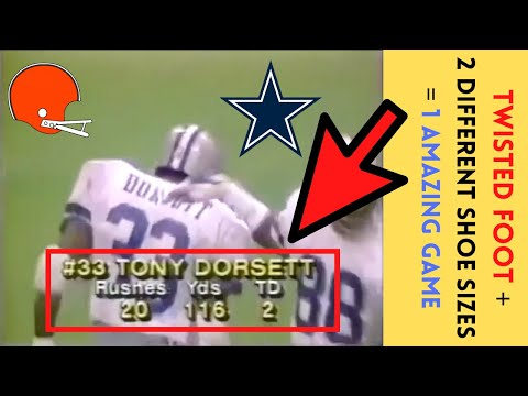 [OC] [Highlight] On Thanksgiving 1982 against the Browns, Cowboys RB Tony Dorsett was playing on a twisted foot, and 2 different shoe sizes (9 1/2 on his left, 10 on his right). He had one of the best games of his career, running for 116 yards and 2 TDs in a win. This is the story behind that