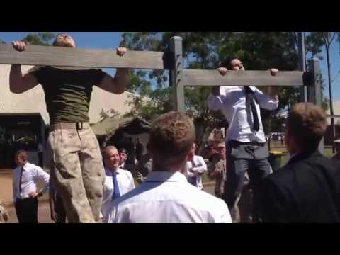 US Marine vs Australian Infantry Pullups on Anzac Day