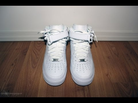 white mid top air force ones