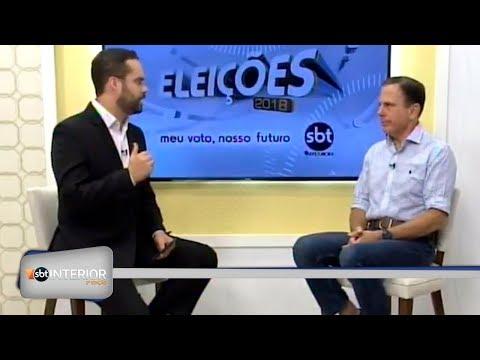 João Dória, candidato a governador do estado concede entrevista ao SBT Interior