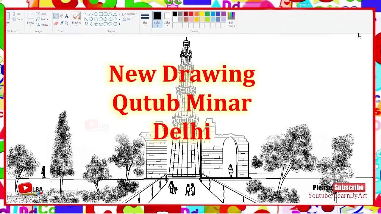 How to draw qutub minar delhi l learnbyart qutubminar qutabminar