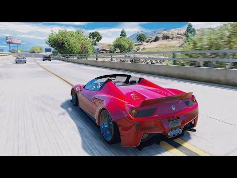 GTA 6 REAL LIFE GRAPHICS 2017 FERRARI 458 LIBERTY WALK INSANE REDUX MOD! GTA V PC GAMEPLAY