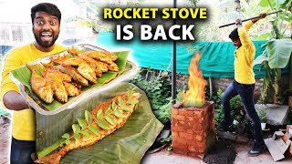 DEEP FRIED FISH PACKED in வாழை இலை !! Our ROCKET STOVE Cooking is BACK