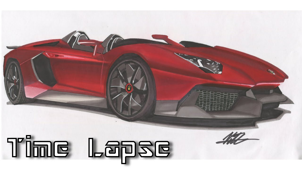 lamborghini aventador j drawing time lapse