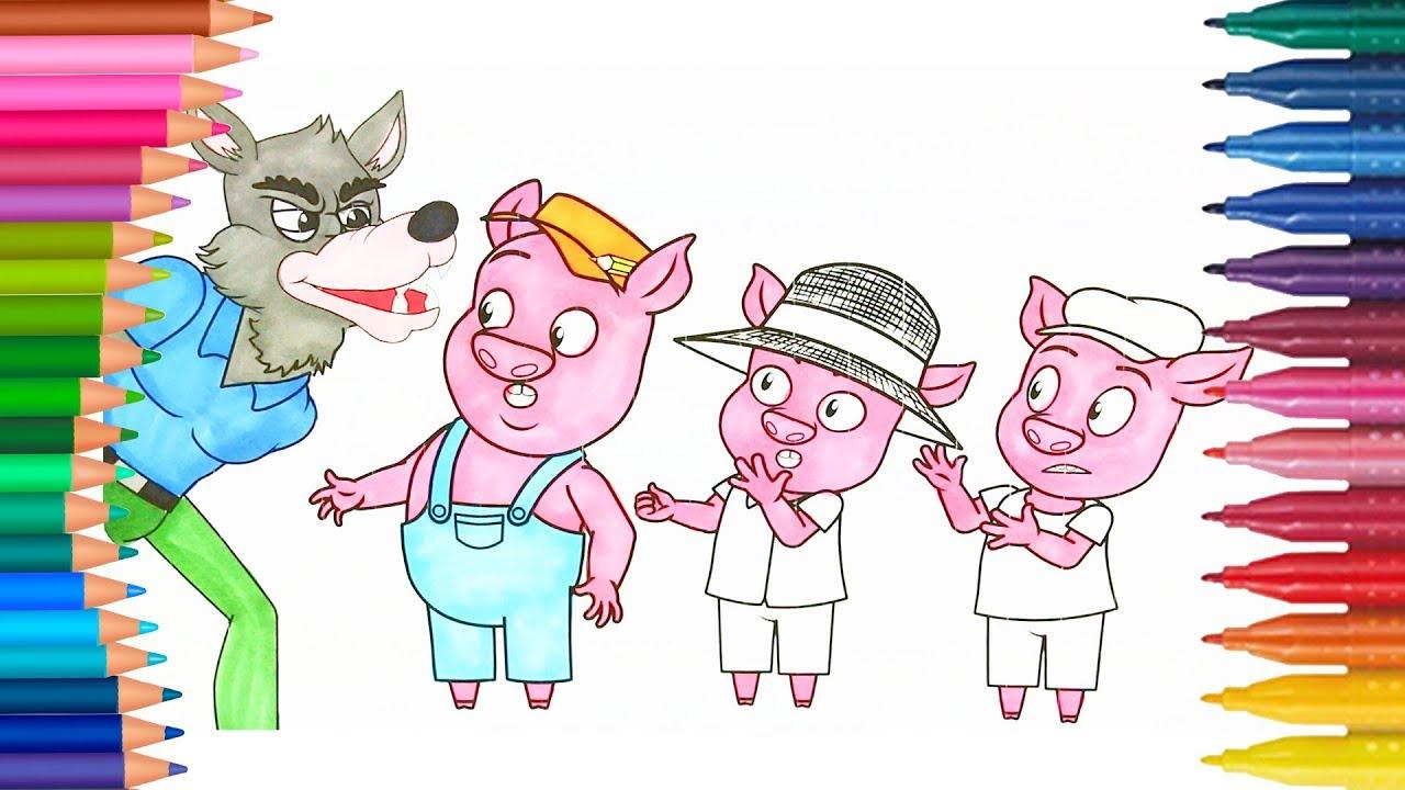 üç Küçük Domuzcuk Boyama Sayfası Ile Renkleri öğreniyorum çocuklar