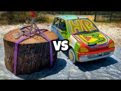 GIANT STUMP Vs. CAR From 45m Tower!