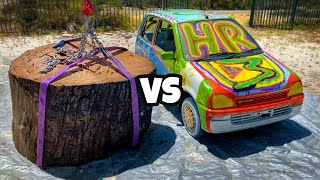 Download GIANT STUMP Vs. CAR from 45m Tower! Mp3 and Videos