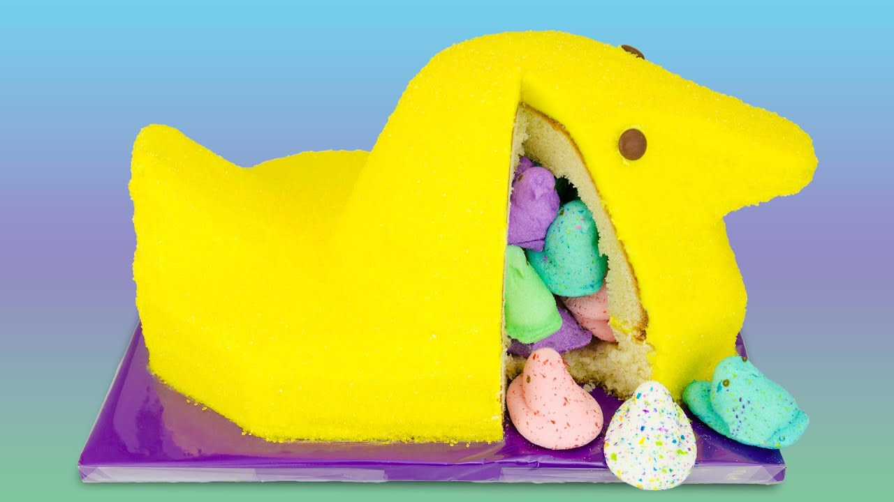giant peeps cake with surprise inside from cookies