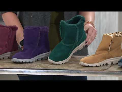 Skechers GOWalk Suede Faux Fur Boots w/ Goga Mat - Dazzling on QVC