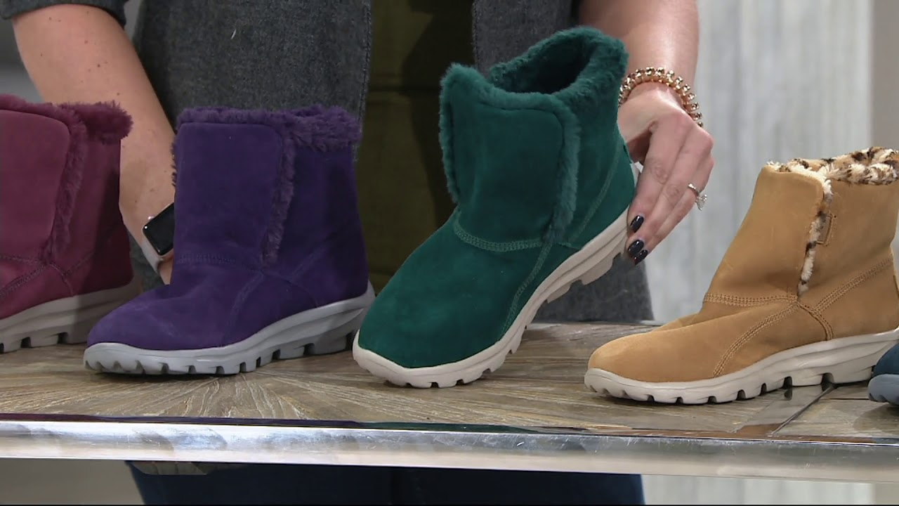 discount sale top quality really comfortable Skechers GOWalk Suede Faux Fur Boots w/ Goga Mat - Dazzling on QVC