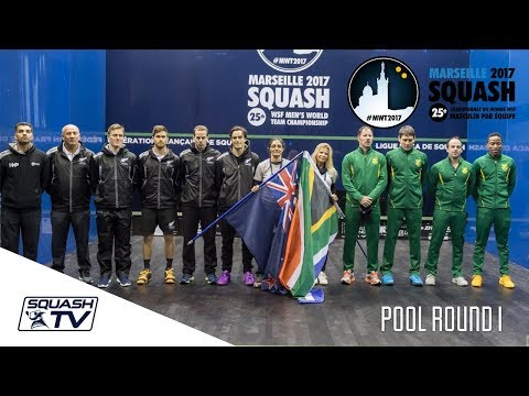 Squash: New Zealand V South Africa - Men's World Team Champs 2017 - Pool Round 1 Highlights