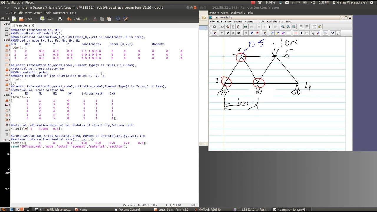 MSE312: Using Prof  Wang's Matlab Truss-FEM code