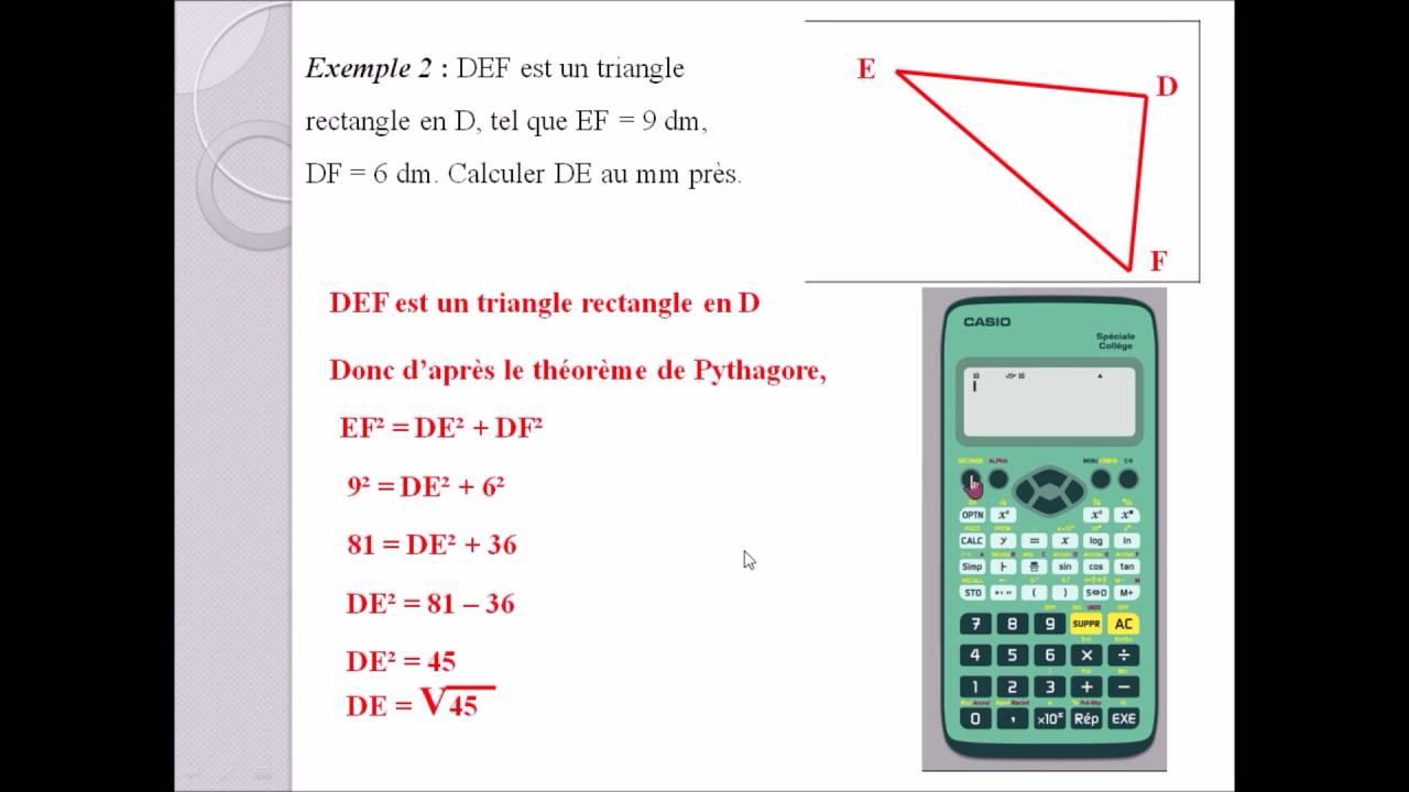 3eme exercices corrigés Pythagore - YouTube