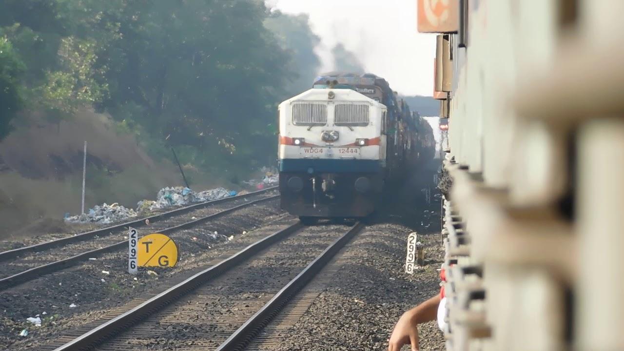 A Unique Transport System In Konkan Railways!!!PA WDG4 With Trucks Loaded Behind Skipping Nandgoan