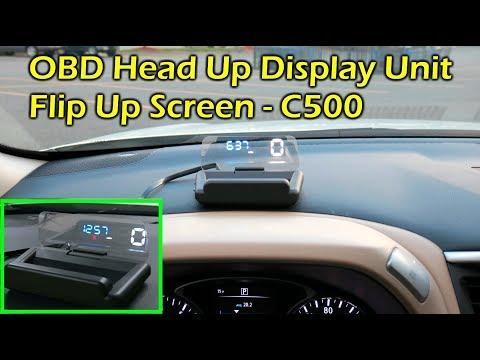 C500 OBDII HUD Head Up Display w Flip Up Screen - Speed, RPM, Fuel, Clock