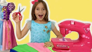 Sofia playing with toy Sewing Machine & going to the Princess Party