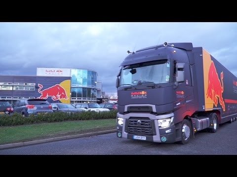 Red Bull Racing Trucks. Packed up and heading to...