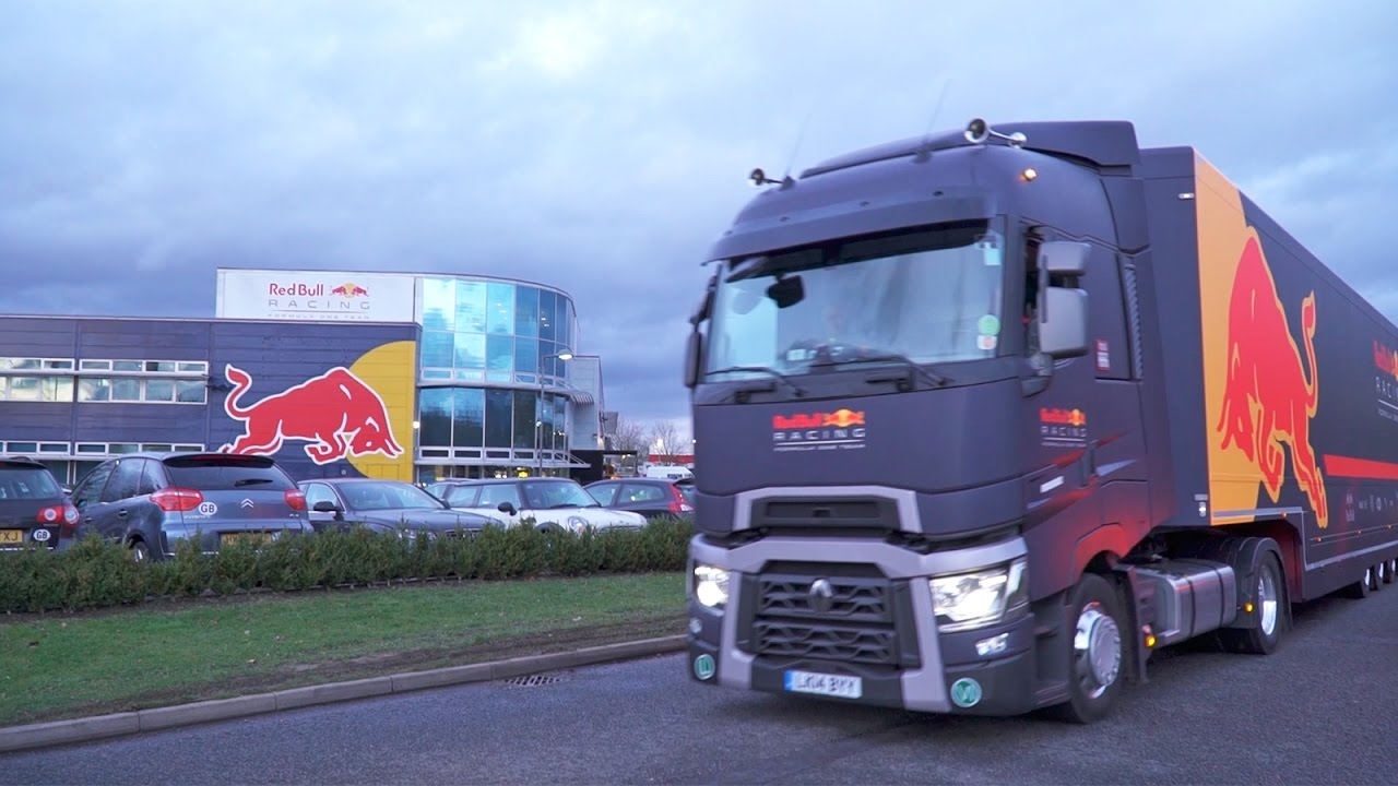 red bull racing trucks packed up and heading to formula one s first test in barcelona [ 1280 x 720 Pixel ]