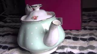 Royal Albert Polka Rose Fine Bone China Tea Party Teapot close look