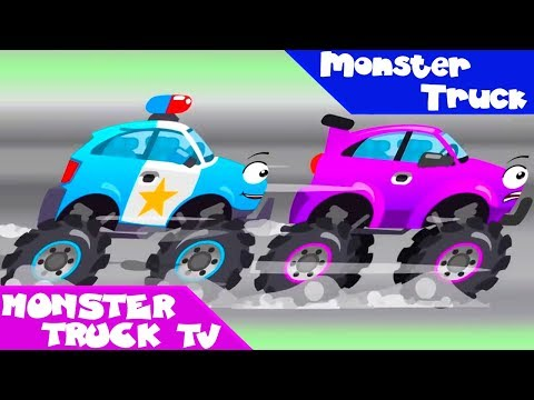 Monster Truck And Police Car Racing - New Cartoon For Kids