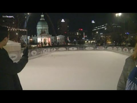 Ice skating at Kiener Plaza