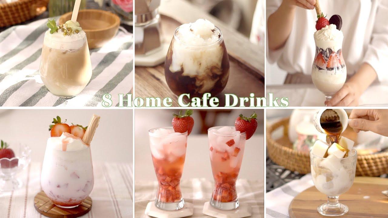 SUB) 홈카페 여름 음료 8가지 레시피/ 집에서도 카페처럼/ 달달한 위로가 필요할 때/ Summer Home Cafe Drinks&Coffee/ Homecafe ASMR