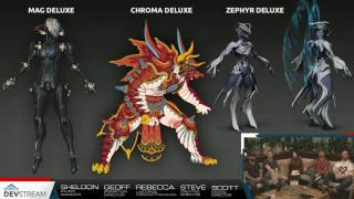 warframe mag deluxe chroma deluxe zephyr deluxe skins collage from devstream 86
